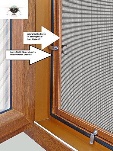 Fliegengitter- Insektenschutz- Alu- GOLDEICHE optimal für Rolläden- Insektenschutzgitterfarbe SCHWARZ (100cm x 120cm, 19mm)