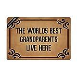 Ruiyida The Worlds Best Grandparents Live Here Entrance Floor Mat Funny Doormat Door Mat Decorative Indoor Outdoor Doormat Non-Woven 23.6 by 15.7 Inch Machine Washable Fabric Top