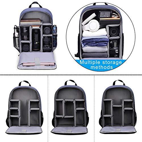 CADeN Kamerarucksack Camera Backpack Wasserabweisend Kameratasche Fototasche Kompatibel mit Sony Canon Nikon und 1 DSLR/SLR 7 Objektiv Stativ Zubehör (Blau-L)