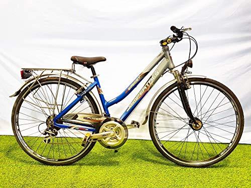 CINZIA Bici Bicicletta 28' Planet Donna in Alluminio Cambio Shimano 21V Grigio Blu