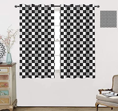 Increíbles cortinas a cuadros, composición monocromática con tablero de ajedrez clásico inspirado en azulejos abstractos con ojales superiores, 139.7 cm de ancho x 160.0 cm de largo, gris y blanco