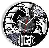 KDBWYC Jeu de Rugby Disque Vinyle Horloge Murale Joueur de Jeu de Football Hommes Grotte décoration de la Maison Football Album de Sport Artisanat Horloge Murale
