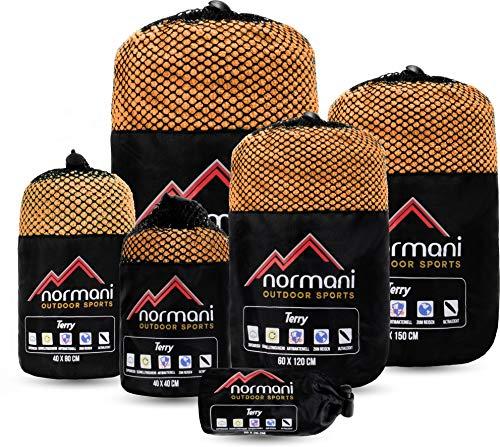 normani Outdoor Reisehandtuch mit Druckknopfschlaufe - Ultra leicht - Ultra saugfähig - Ultra antibakteriell in verschiedenen Größen und Farben Farbe Orange Größe 1er Pack 100 x 200 cm