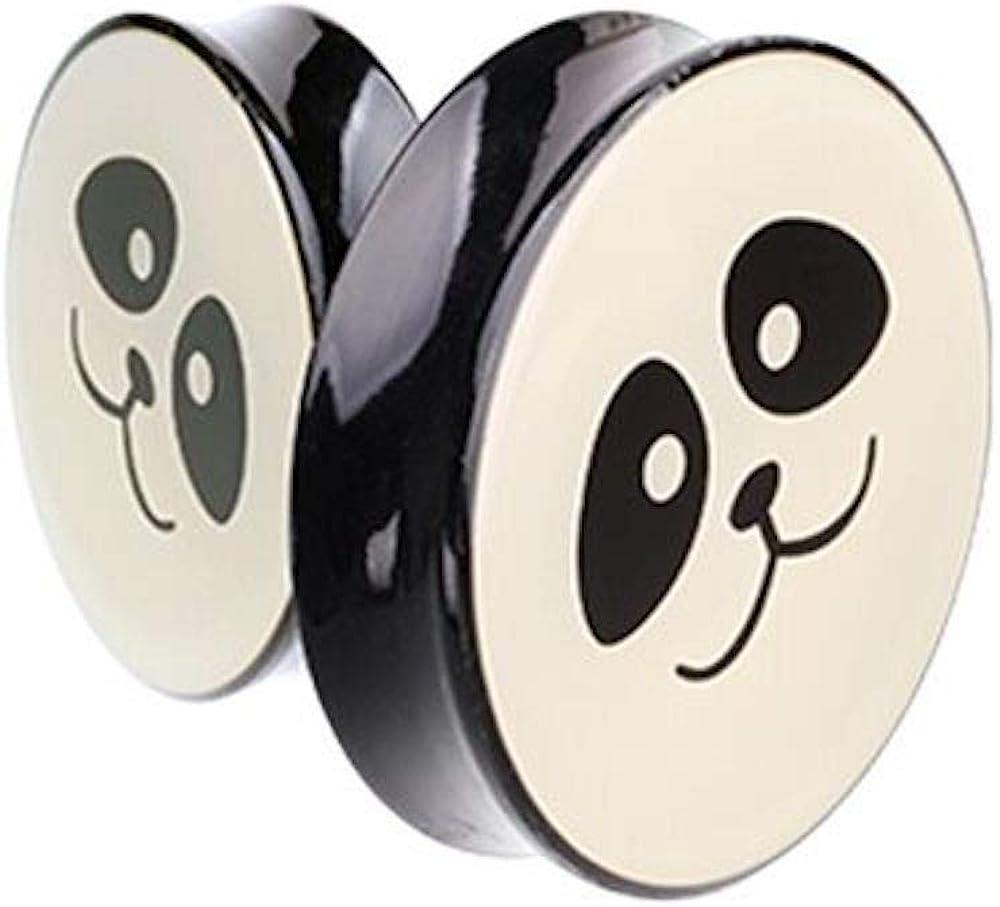 Covet Jewelry Supersize Panda Facial Double Flared Ear Gauge Plug