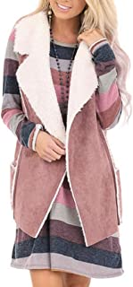 2XL 2019 Winter Vests for Women Warm Fashion Open Front Cardigan Faux Fur Jackets Sleevess Suede Cozy Top Coats Outwear
