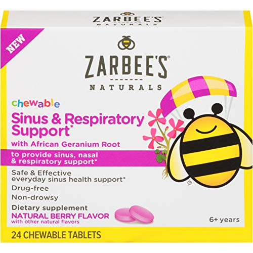 Zarbee's Naturals Children's Chewable Sinus & Respiratory Support with African Geranium Root and Citrus Bioflavonoids, 24 Count (blister pack)