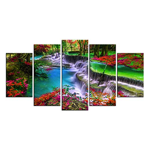 LevvArts - 5 Pieces Forest Canvas Wall Art Waterfall River Picture Prints Vivid Nature Landscape Painting Giclee Artwork Framed for Kitchen Wall Decoration Moderen Home Office Decor