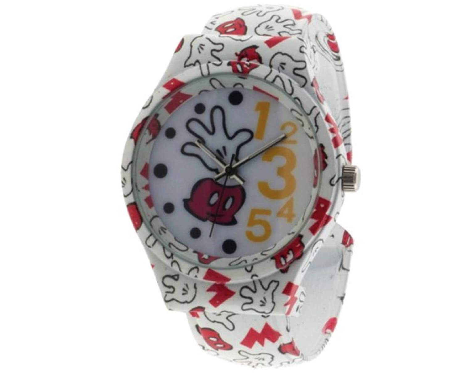 道に迷いましたリベラル機会ディズニー ミッキーマウス レディース アナログバングルウォッチ 手袋プリント