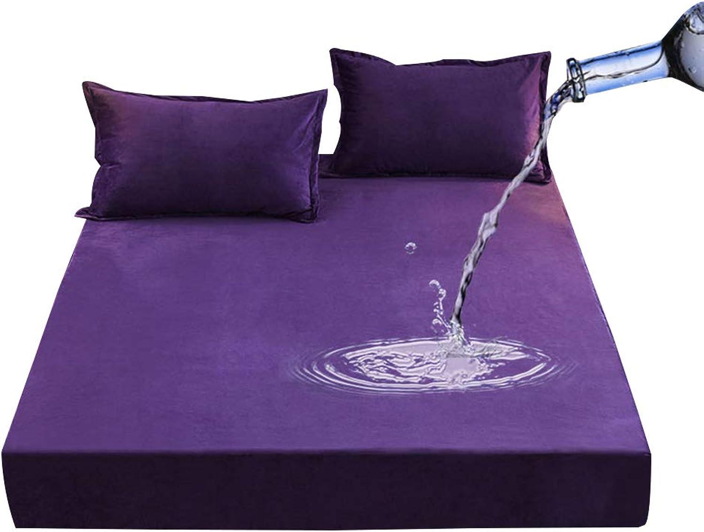 ZHAOHUI Mattress Predector Superfine Fiber Waterproof with Pillowcase Breathable Hypoallergenic Noiseless Non-Slip, 4 colors, 4 Sizes (color   Purple, Size   150X200cm)