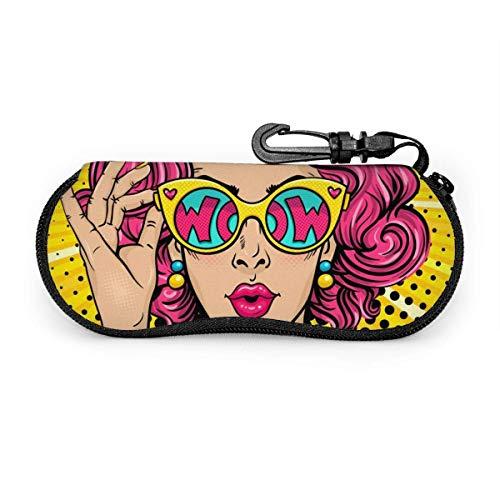 Wow Pop Art Sexy Pink Curly Woman Estuche para gafas Estuche para gafas de sol Estuche para gafas de neopreno ultraligero con cremallera y mosquetón personalizado