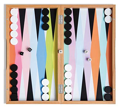 REMEMBER Backgammon – Brettspiel im Koffer aus Holz, kreatives Design, 46 x 25cm