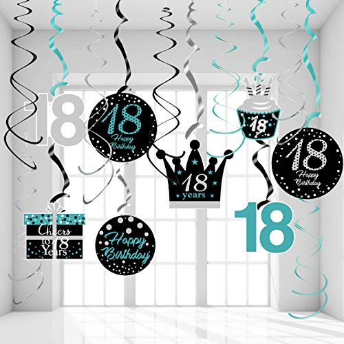 18th Birthday Decorations for Girls Teal Silver Black 18th Birthday Hanging Swirls 18th Birthday Decorations for Teal Silver 18 Years Old Party Supplies for Her
