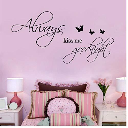 Siempre Kiss Me Goodnight Quotes Pegatinas de pared para la decoración del dormitorio Decoración del hogar Calcomanías de vinilo Diy Arte mural Negro