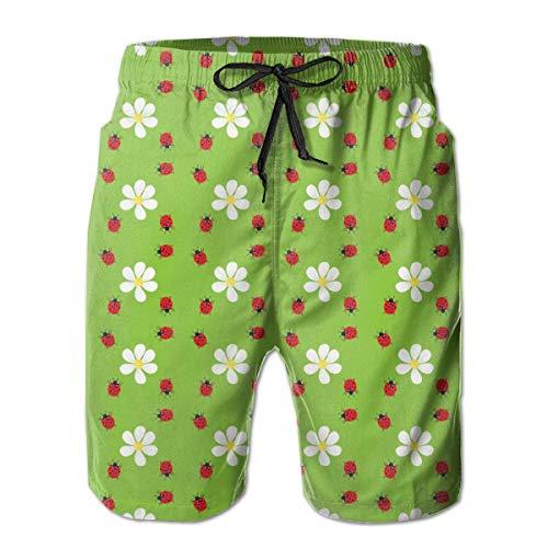 Flower Ladybug Men Fashion Swim Trunks Deportes de Secado rápido Pantalones Cortos para Correr Pantalones Cortos de Playa de Verano Pantalones Cortos con Bolsillo XL
