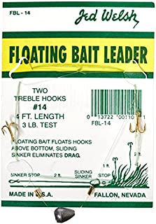 Jed Welsh Fishing 3 Pack Floating Bait Leader Size 14 Hook Rigs