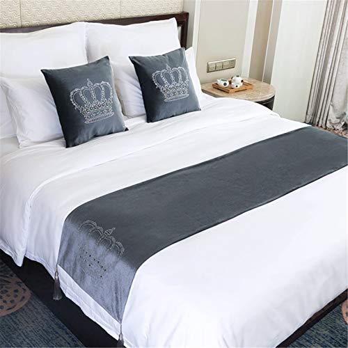 YFWJD Corredor de la Cama Moderno Ropa de Cama de Hotel Cama de Terciopelo Toalla de la Cama de Cojín de la Cola Cubierta de la Cama,#2,45x210cm for 180 cm Bed