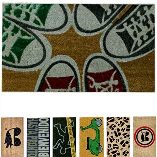 LucaHome - Felpudo de Coco Natural 70x40 con Base Antideslizante, Felpudo de Coco Divertido Zapatillas,Felpudo Absorbente Entrada casa, Ideal para Puerta Exterior o Pasillo