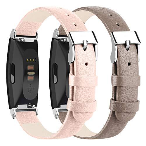 "Wanme für Fitbit Inspire Armband/Fitbit Inspire HR Armband, Ersatz Lederarmband mit Metall verbindern für Fitbit Inspire und Fitbit Inspire HR (04 Pink+Grey, 5.5"" - 8.1"")"