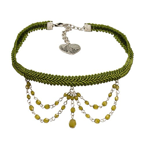 Alpenflüstern Trachten Borten-Kropfband Ida mit Perlen-Ketten - nostalgische Trachtenkette enganliegend, Elegante Kropfkette, Damen-Trachtenschmuck grün DHK188