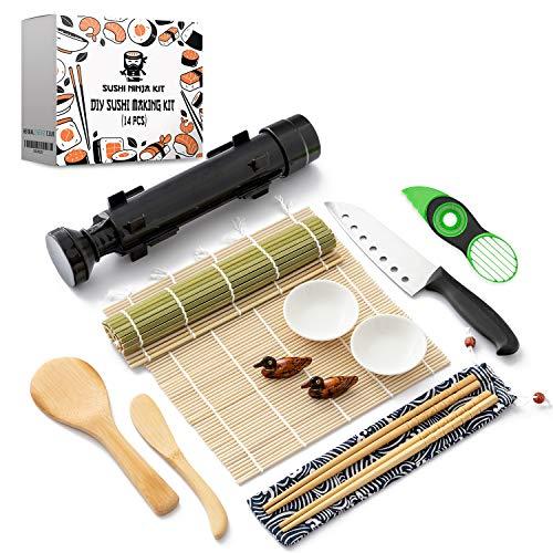 Sushi Ninja - DIY Sushi Making Kit for Beginners, Sushi Kit, Sushi Maker, Sushi Roller, Sushi Maker kit, Sushi Bazooka, Sushi Set, Sushi Rolling Mat, Sushi Mat, Bamboo Sushi Rolling Mat, Avocado Tool