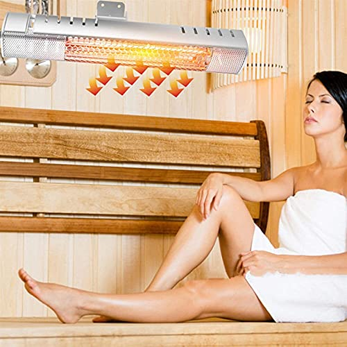 HAO KEAI Calefactor de terraza Calentador eléctrico de 1500W,Calentador infrarrojo montado en la Pared for baño,IP65 Impermeable,calefacción rápida,for Interiores/Exteriores