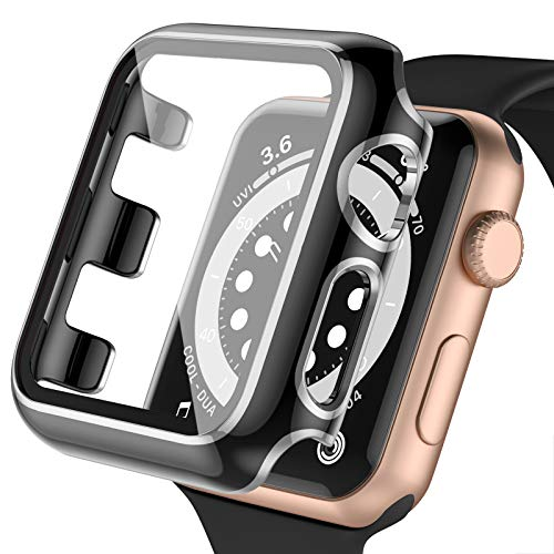 Upeak Screen Protector Compatible with Apple Watch 38mm Series 3/2/1, PC Case with Built in Tempered Glass Full Coverage Protective Bumper for iwatch, 38MM-Black/Silver Edge
