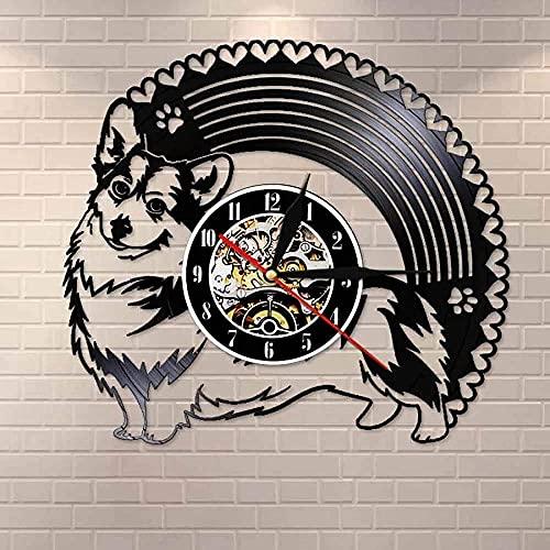 hhhjjj Cardigan Dog Led Disco de Vinilo Reloj de Pared Mudo Reloj de Estilo Retro Decoración del hogar Característica de Arte única Decoración del hogar Personalidad Creativa Regalo