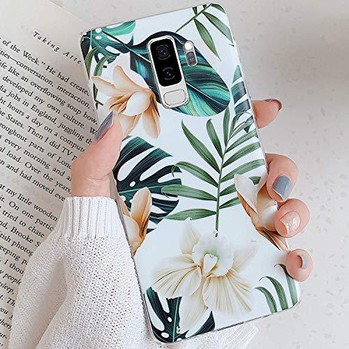 Uposao Fleur Feuilles Coque pour Samsung Galaxy S9 Plus Matte Coque en Silicone TPU Cover,Galaxy S9 Plus Jolie Fleur Housse Téléphone Etui Ultra Mince Souple Gel Bumper Case pour Galaxy S9 Plus,A