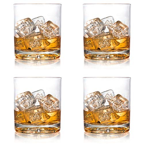 Unbreakable Whiskey Glasses, 12oz -100% Tritan - Shatterproof, Reusable, Dishwasher Safe - Premium Whisky Scotch Glassware (Set of 4)- Indoor Outdoor Drinkware - Great Holiday and Wedding Gift