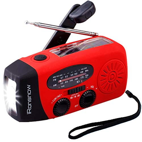 【2021 2000mAh】 iRonsnow IS-088+ Solar Hand Crank Radio AM/FM/NOAA/WB Weather Emergency Radio, Dynamo LED Flashlight 2000mAh Power Bank for iPhone/Android Smart Phone (Red)