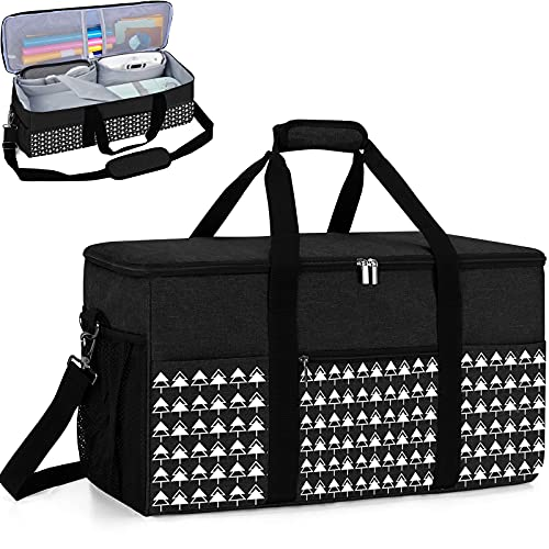 Carrying Case for Die-Cut Machine and Cricut Easy Press(9 x 9 inches), Cricut Maker, Lightweight Tote Bag for Cricut Machine and Accessories, Fixable Straps Style(Bag Only) (black2)