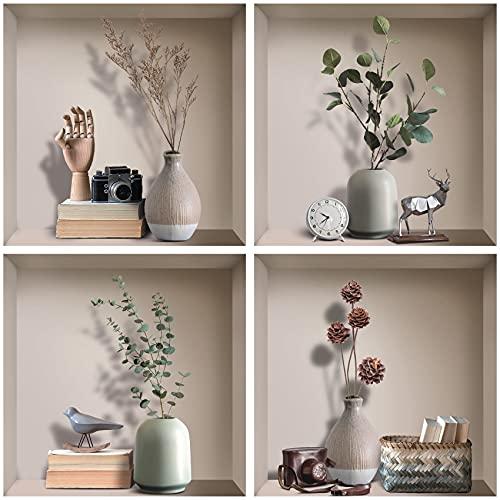 ANHUIB 4 Pcs Stickers Muraux 3D Plante de Salon,Autocollant Mural de Plante,Stickers Mural de Vase,Autocollant Muraux Feuille Verte,DIY Amovibles 3D Vases Murale de Salon Chambre à Coucher Décoration