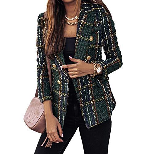 Onsoyours Blazer Donna Invernale Vestiti Cardigan Corta Elegante Slim Fit Manica A Campana Lavoro Affari Tailleur Giacchino Giacca Cappotto Uffico C Verde 3XL