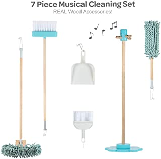 Adora Pretend Play Musical Cleaning Set, 7 Pieces, Educational Toy for Kids - Music Component Stand, Broom, Sweeper, Dust Pan & Brush Set & Duster, 21986