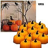 TINYOUTH 12PCS LED Orange Pumpkin Tea Lights, Halloween Pumpkin Candles Jack-o-Lantern Lights,...