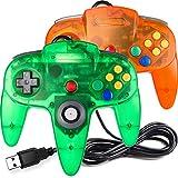 [USB Version] Classic N64 Controller, SAFFUN N64 Wired USB PC Game pad Joystick, N64 Bit USB Stick for Windows PC MAC Linux Genesis Raspberry Pi Retropie Emulator [Plug & Play] (Orange+Green)-2 Pack