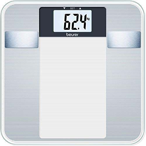 Beurer BG 13 - Báscula de baño diagnóstica de vidrio, cálculo del IMC, vidrio de seguridad, plataforma 30 x 30 cm, números con altura de 3.8 cm, semitransparente