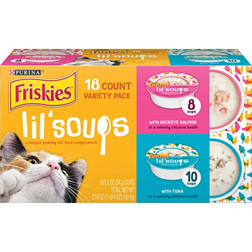 Purina Friskies Grain Free Wet Cat Food Complement Variety Pack, Lil' Soups With Sockeye Salmon & Tuna in Broth - (18) 1.2 oz. Cups