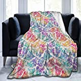 "HXJIULI Throw Blankets for Couch Sherpa Fleece Blanket Faux Fur Blanket Super Soft Blanket Bed Warm Blanket Floral Penis Rainbow for Bed and Living Room 50"" X40"""