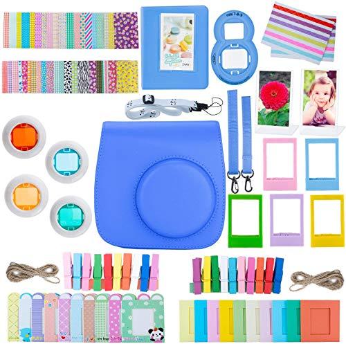 ZWOOS 12 in 1 Zubehör kompatibel mit Instax Mini 9/ Mini 8/ Mini 8+/ Mini 8S Sofortbildkamera, Kameratasche und Zubehör kompatibel mit Mini 9 Kamera(Kobalt Blau)