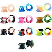 Huacan 20 Piezas Expansor de Túnel Silicona Delgada Suave Ear Plug Precing Dilatador de oreja Diez Color 16MM