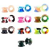 Huacan 20 Piezas Expansor de Túnel Silicona Delgada Suave Ear Plug Precing Dilatador de oreja Diez Color 6MM