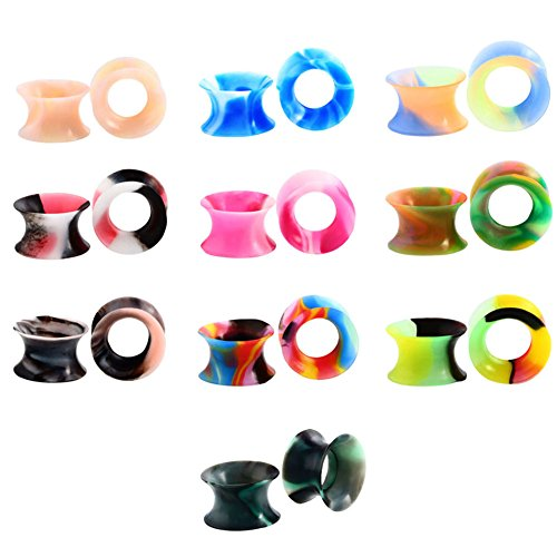 Huacan 20 Piezas Expansor de Túnel Silicona Delgada Suave Ear Plug Precing Dilatador de oreja Diez Color 12MM