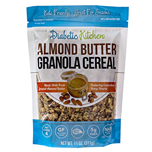 Diabetic Kitchen Almond Butter Granola Cereal - Low Carb Snacks & Breakfast Food w/ No Added Sugar - Keto Friendly, 4 Net Carbs, Gluten-Free & Non-GMO (11 oz)