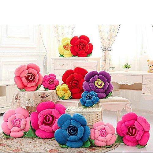 Bluelover 3D Colorée Rose Fleurs Throw Pillow Canapé Peluche Voiture Bureau Coussin Saint Valentin-Cadeaux - Melon D'Eau Rouge
