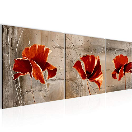 Runa Art - Bilder Blumen Mohnblumen 120 x 40 cm Vlies Leinwandbild Rot Beige Mehrteilig Moderne Wanddeko 201133b