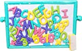 Kerwa Magnetic Alphabets and Numbers Cum 2 in 1 Writing Board for Kids || Alphabet Kids Writing Skill Slate || 2 in Board || Chalk Duster || 26 Magnetic Alphabets || Number 0 to 9 || Multicolour