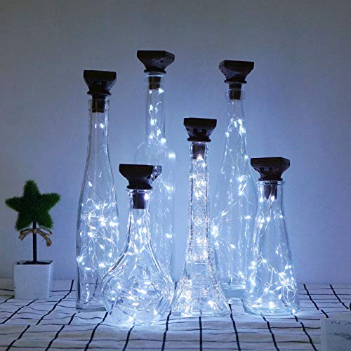 Decorman 10 Pack Solar Wine Bottle Lights 20 LEDs Waterproof Fairy Cork String Silver Wire Craft Lights for Party, Wedding, Christmas, Holiday, Garden, Patio or Table Decor