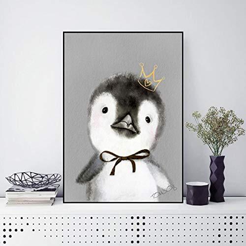 ganlanshu Rahmenlose Malerei Kunst Bär Kaninchen Pinguin Schwein Cartoon Tier Nordische Leinwand Malerei Baby RaumdekorationZGQ5955 50X67cm
