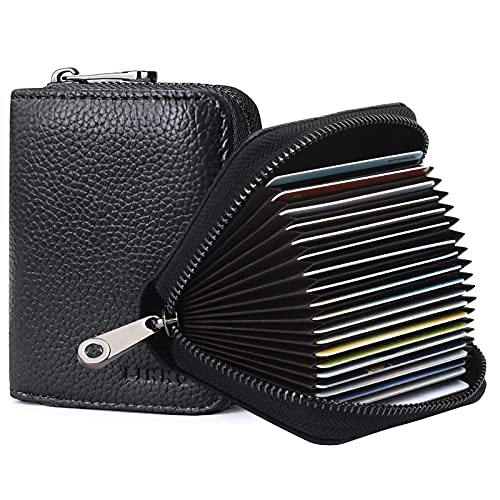 LINNO RFID 20 Card Slots Credit Card Holder Genuine Leather Small Card Case for Women or Men Accordion Wallet with Zipper